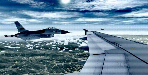 Yolcu uçagına Hollanda F-16'ları eşlik etti